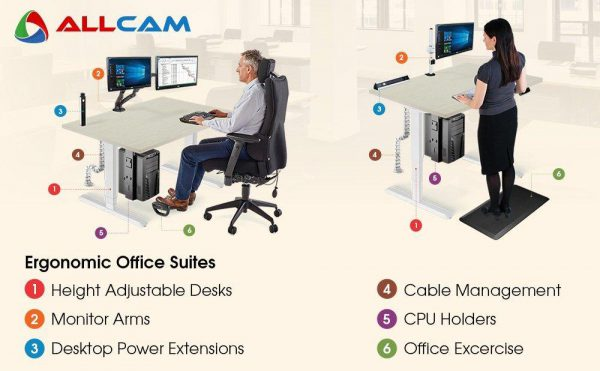 Allcam WST50A Gas Spring Office/Meeting Round Table/Standing Desk White, Height Adjustable 70-106 cm