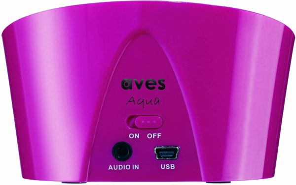aqua Bluetooth speaker pink home office control jacks connections ports