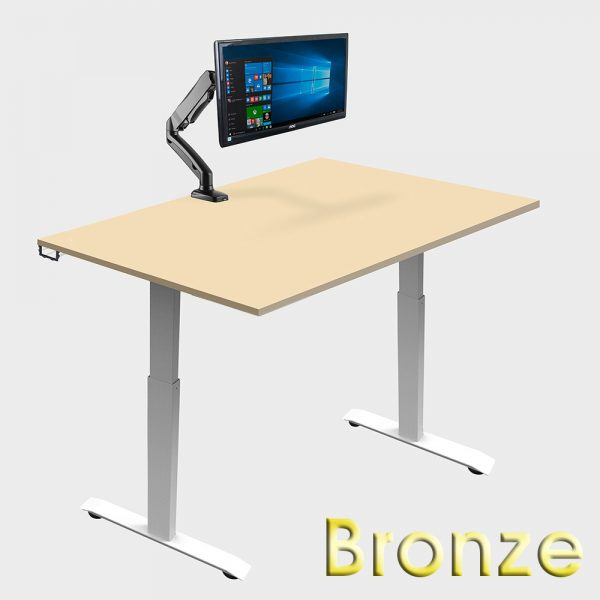 bronze ergonomic office suite sit stand desk with accessories