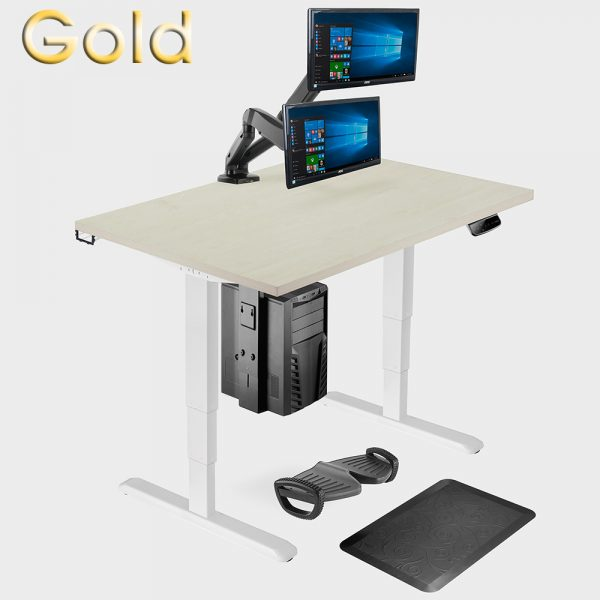 gold allcam ergonomic office suite: dual-motor sit-stand desk with accessories