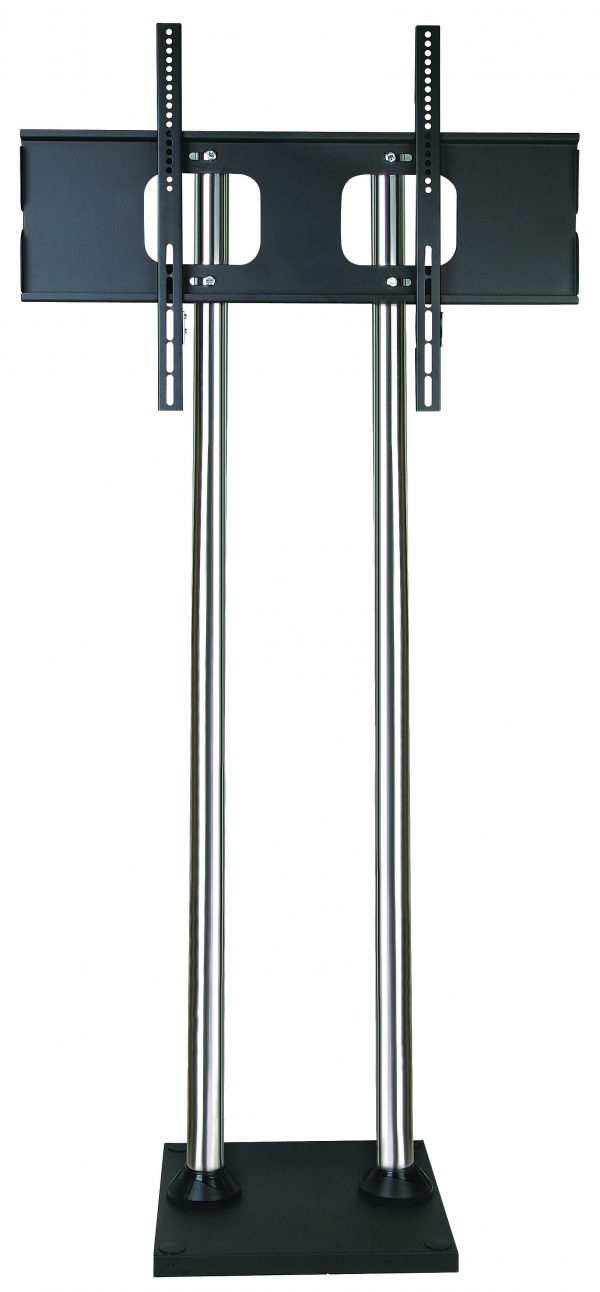 FS400BD screw-down TV floor stand large chrome poles front