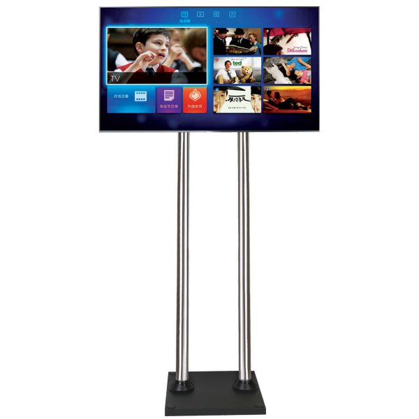 FS400BD screw-down TV floor stand large chrome poles LCD