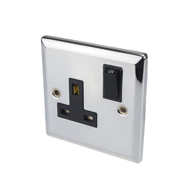 Volex Switched Single Wall Socket Chrome Metal Front & Rounded Edges BS1363