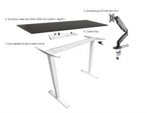 Bronze ergonomic office suite height adjustable sit-stand desk & accessories