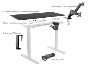 Silver ergonomic office suite height adjustable sit-stand desk & accessories