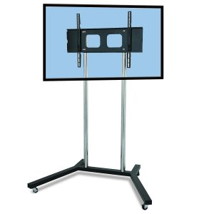 FS401 elegant TV trolley floor stand chrome poles LCD