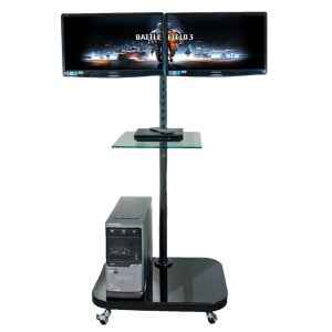FS948MDM2 twin dual LCD monitor trolley floor stand gaming station