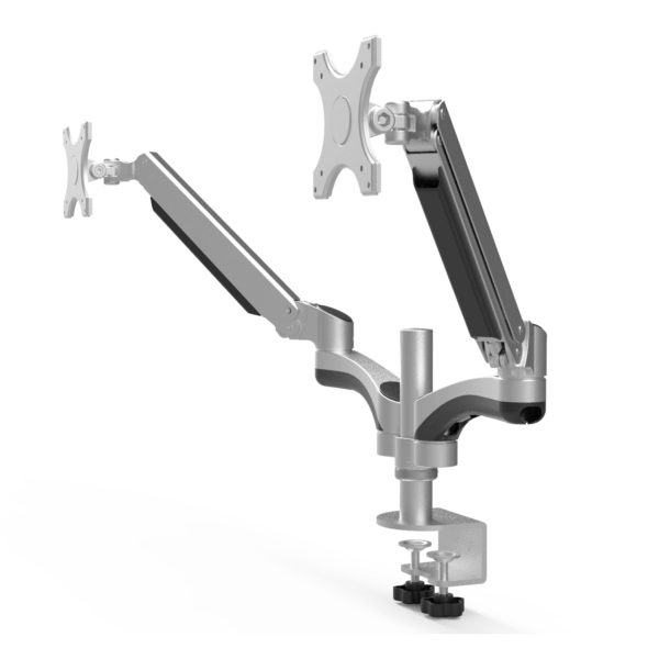 GSA12D-SV Gas Spring Dual Monitor Arm Stand w/ desk clamp Silver side