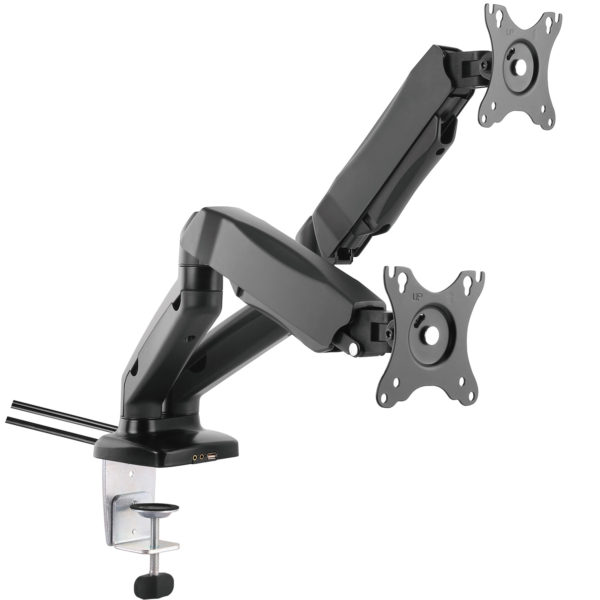 GU32D gas spring dual lcd monitor arm stand with desk clamp usb av ports