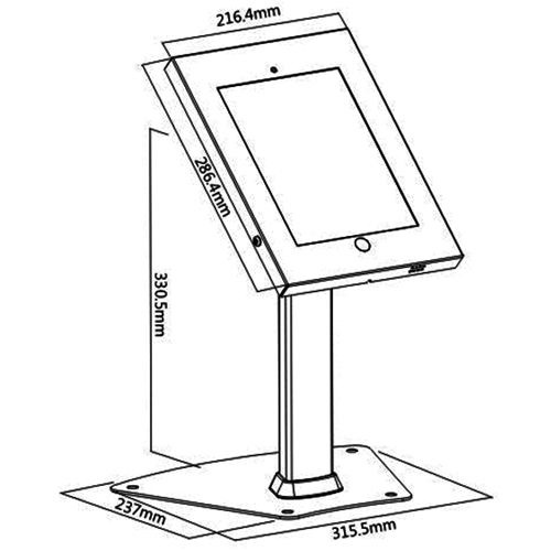 ipa1204 tablet ipad air kiosk desk table stand sizes diagram