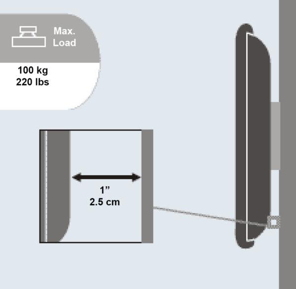 plb105 super slim tv wall bracket 1 inch to wall 100kg load