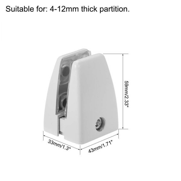 SEM01-series 2pcs Slim Surface-mount Brackets for Desk Privacy Screens / Under-desk Modesty Panels