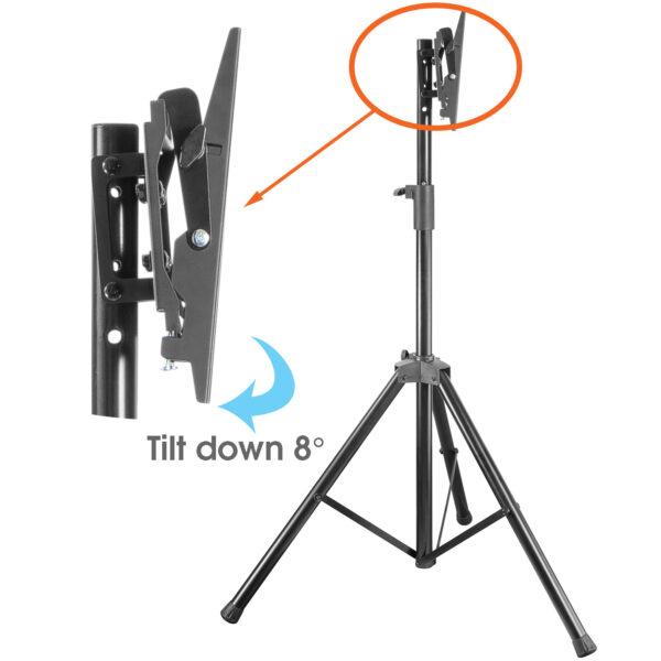 Allcam TR940A Portable Tripod TV Stand VESA 200x200 side view tilt