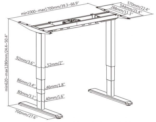 Allcam EDF12D dual motor sit-stand desk frame dimension size diagram