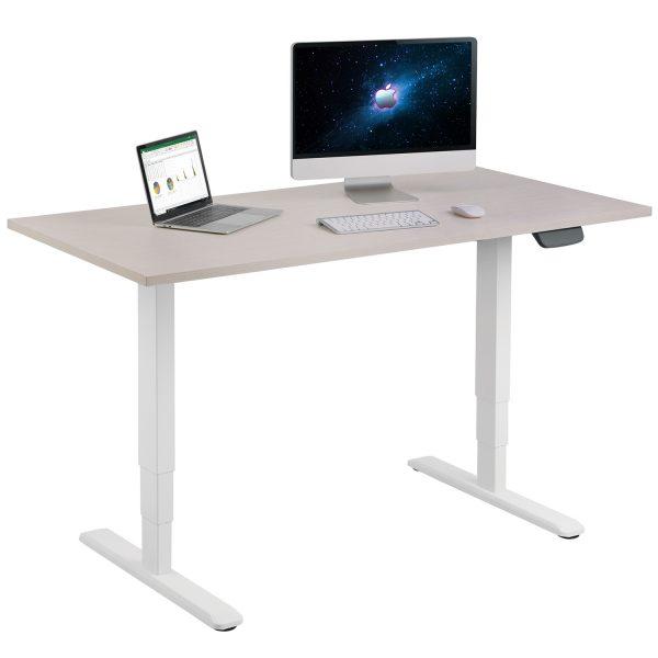 Allcam EDF12DW dual motor sit-stand desk frame w/ iMac and laptop