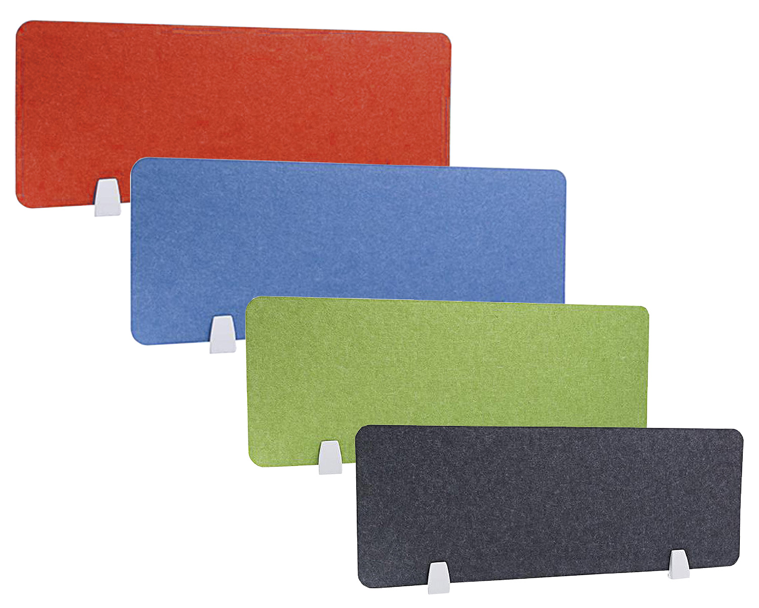 acoustic privacy screens and mounting brackets various colours black green blue red orange