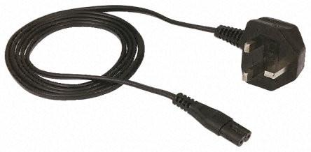 Figure-8 UK mains power cable with 8-shape plug BS1363