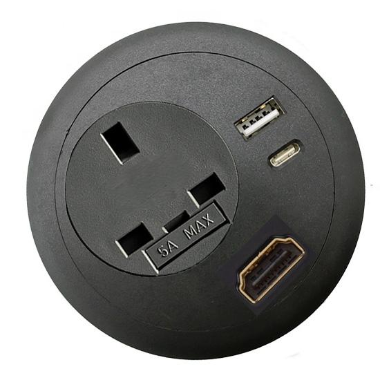 Commercial office desk-top grommet power USB C PD HDMI black top
