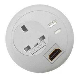 Commercial office desk-top grommet power USB C PD HDMI white top