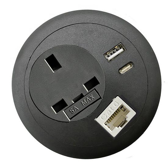 Commercial office desk-top grommet power USB C PD RJ45 Lan network blacktop