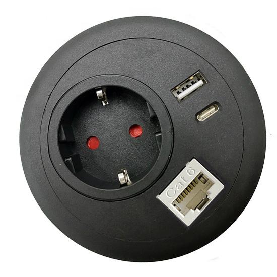Commercial office desk-top grommet power USB C PD RJ45 Lan network black top EU