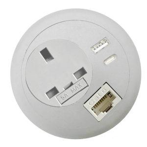 Commercial office desk-top grommet power USB C PD RJ45 Lan network white op