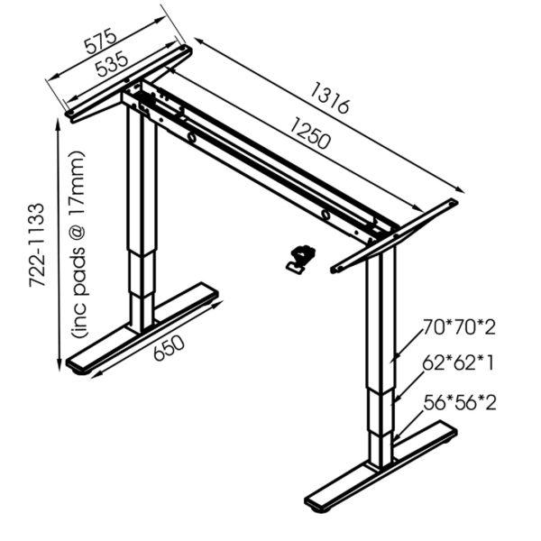 GDF12W Gas Spring Height Adjustable Standing Desk Frame/ Sit-Stand Workstation