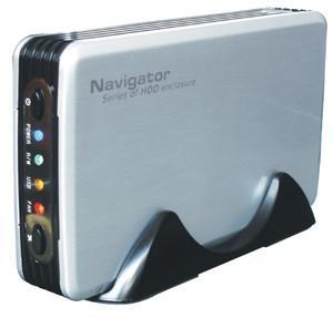 "Silver Navigator USB 2.0 3.5"" SATA hard drive enclosure USB2 External"