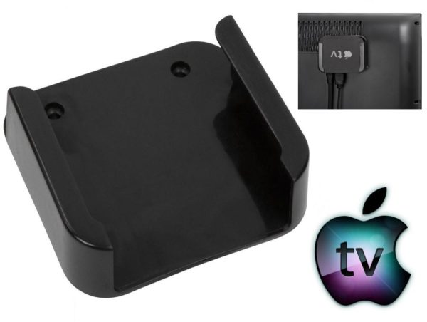Premium Apple TV Mount Black Bracket Holder (Apple TV 2 / 3) - Out of sight Behind the TV Mount / TV Bracket Mount / Wall Hanging Mount w/ Accesory Pack
