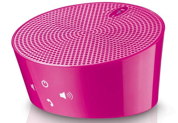 AVES Aqua Portable Bluetooth Speaker w/ Noise-reduction Mic Handsfree Phone Kit in Pink