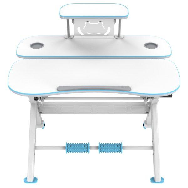 iMount KD02L Height Adjustable Children Desk/Large 3-Shelf Ergonomic School Kids Study Table Blue