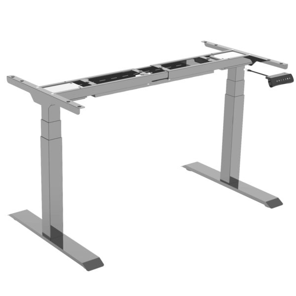 EDF32DS electric sit stand desk standing table frame in silver grey