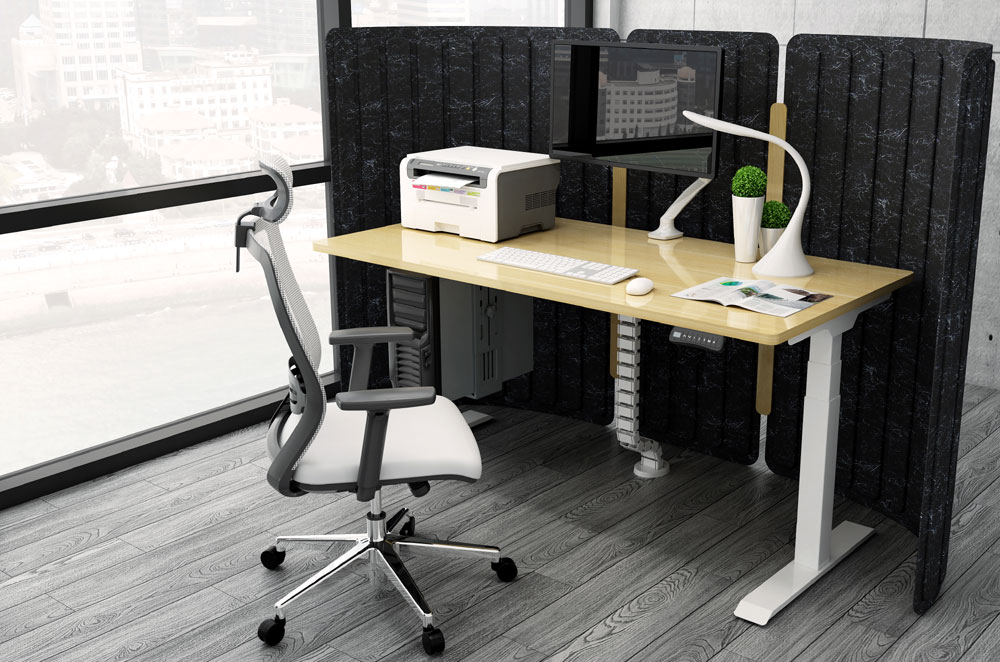 Allcam EDF32DW electric height adjustable sit stand desk office scene