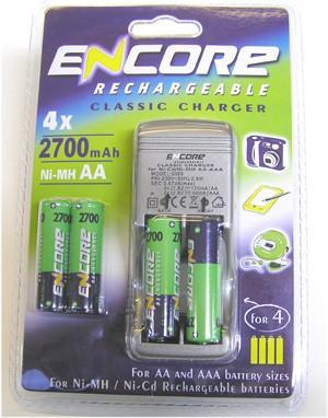 Uniross Encore AA Battery Charger + 4pcs Ni-Mh 2700mAh Batteries