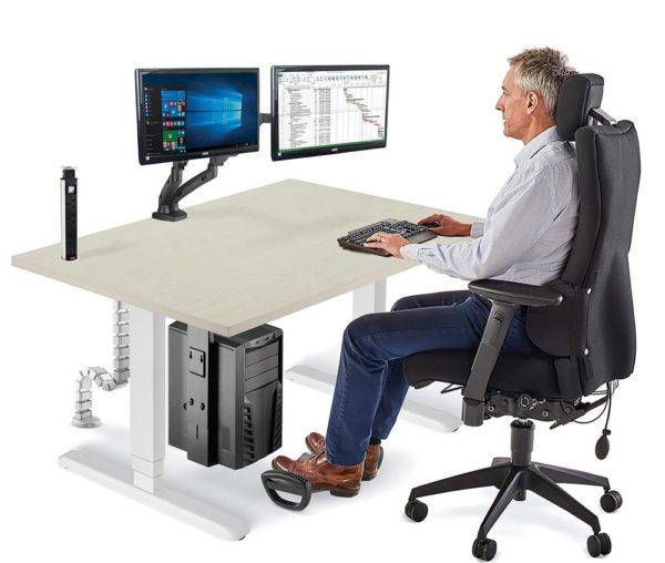 Allcam standing desk sit-stand workstation sit position