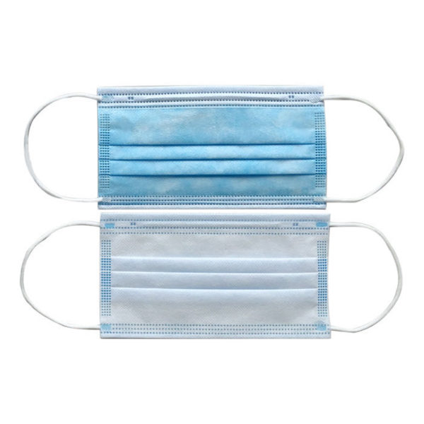type IIr disposable 3-ply non-woven face mask front back