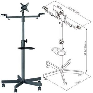 "FS960 Mobile Floor Stand with Brackets for 19""-32"" LCD/LED TVs w/ Microphone holders, and Drink Cup Tray"