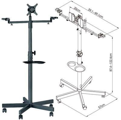 """FS960 Mobile Floor Stand with Brackets for 19""""-32"""" LCD/LED TVs w/ Microphone holders, and Drink Cup Tray"""