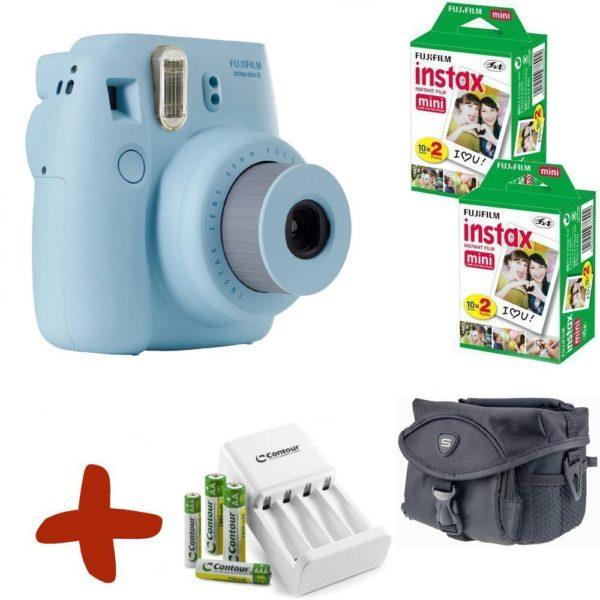 Fuji Instax Mini 8 Instant Camera Premium Bundle w/ Film, Case, Batteries & Charger