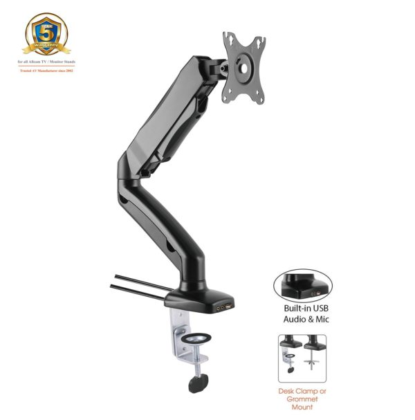 GU31S w/ USB_Desk Clamp for 1x LCD 1.5-7kg_Tilt_Swivel_Rotate