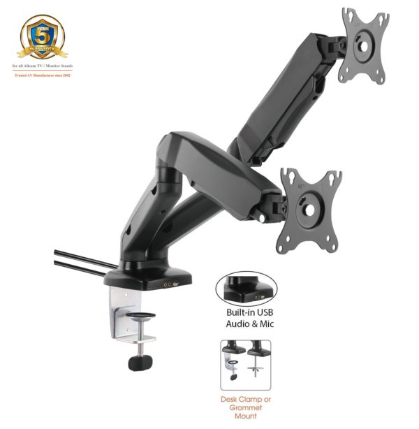 GU32D w/ USB_Desk Clamp for 2x LCD 1.5-7kg_Tilt_Swivel_Rotate