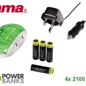 Hama Delta Plus Smart Charger w/ 4x AA NiMh Rechargeable Batteries & Power Bank Function