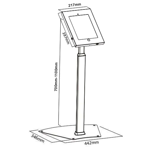 IPA1205FL Tablet Floor Stand for 9.7 10.5 iPad dimensions sizes