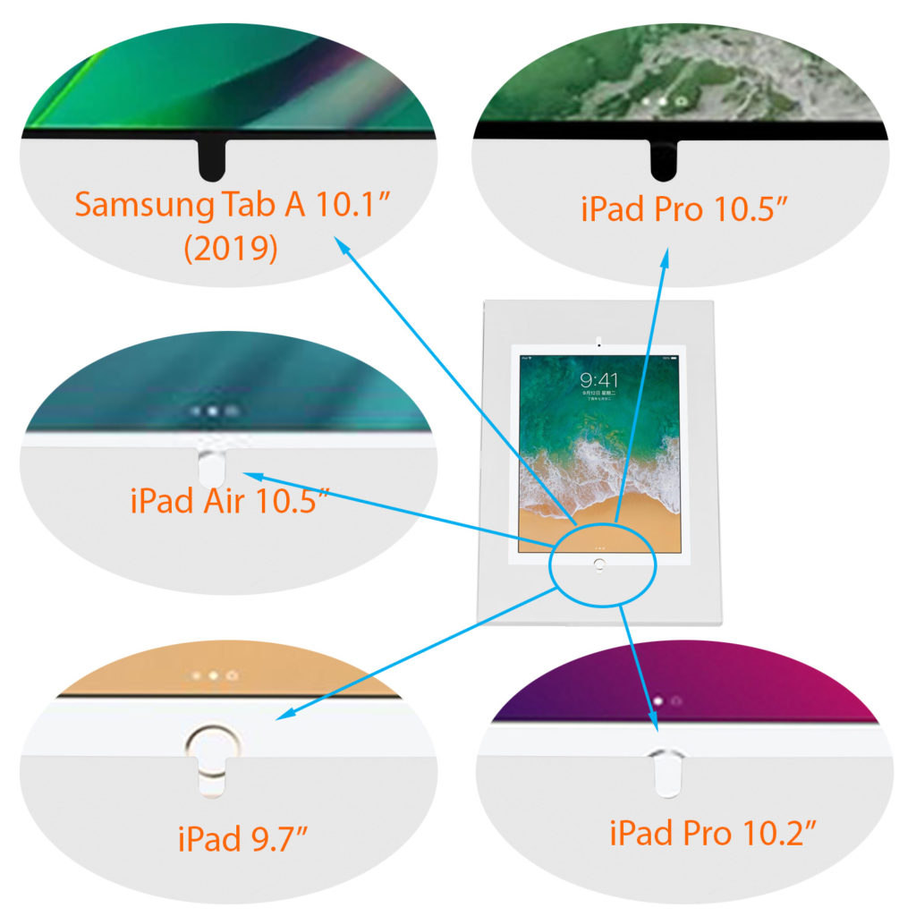IPA3200 enclosure and ipad samsung galaxy tab A home buttom access
