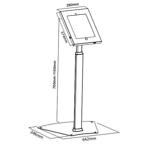 IPP1205 12.9 ipad pro floor stand size diagram chart