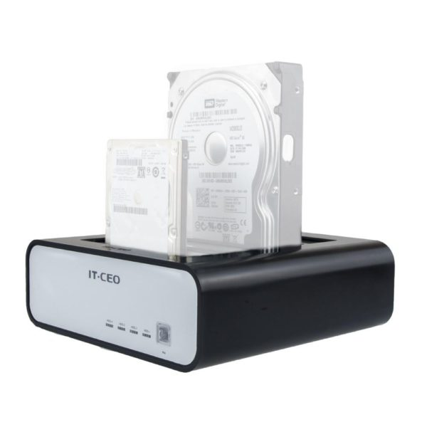 Allcam IT190 USB 3.0 Quad Hard Drive Docking Station for 4x 2.5 Inch & 3.5 Inch SATA HDD and SSD Up To 4TB w/ USB 3 Cable and External Power Supply