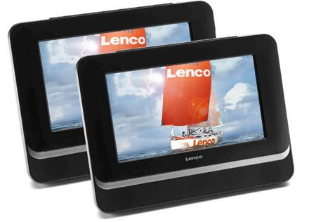 "Lenco MES217 7"" Dual Screen Portable DVD Player w/ SD, USB, 12V Car Adapter"