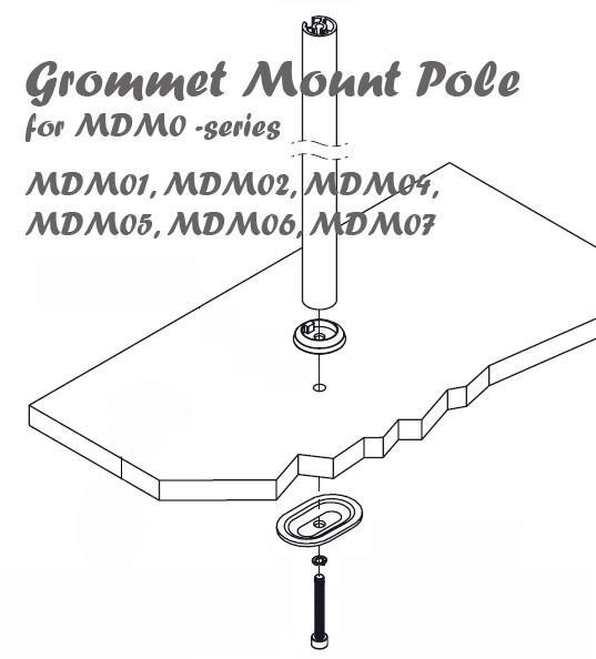 Desk Grommet Mount Pole for MDM0-series MDM01 MDM04 MDM05 MDM06, MDM07