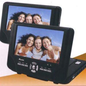 "Mustek DP77 7"" Dual Screen Portable Tablet DVD Player No Battery Refurbished"