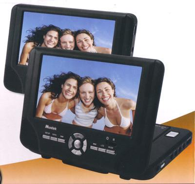 "Mustek DP77 7"" Dual Screen Portable Tablet DVD Player No Battery Refurbished"